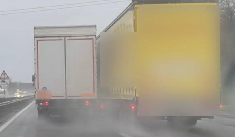Scene ireale pe o autostradă din Ungaria. Doi şoferi de TIR s-au luat la întrecere, într-o cursă nebună