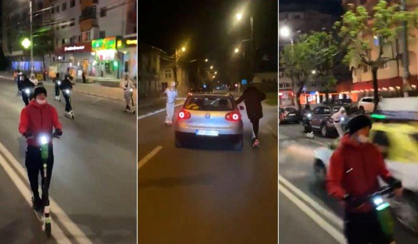Tineri din Târgovişte, filmaţi în timp ce fac slalom cu trotinetele printre maşini