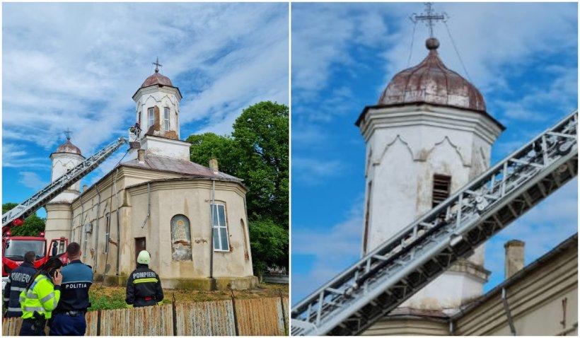 Incendiu la o biserică din Dolj. Flăcările au izbucnit în turla monumentului istoric