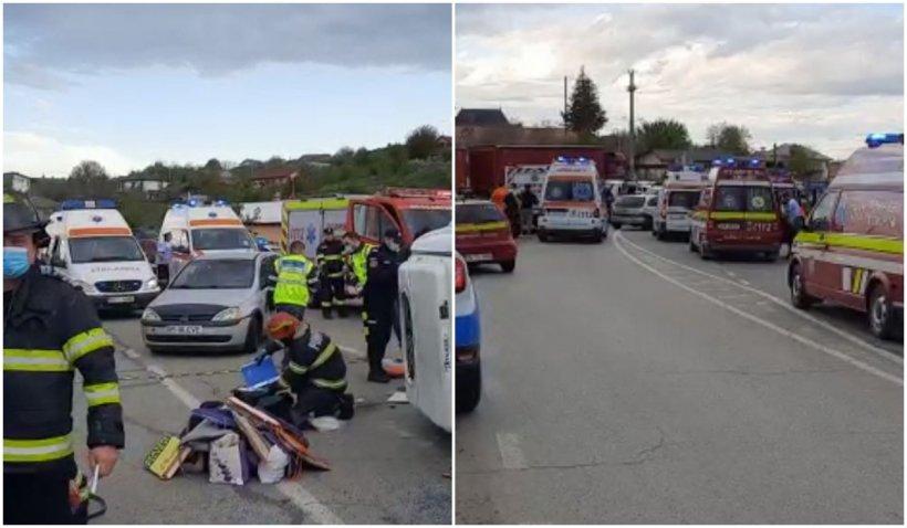 13 persoane au ajuns la spital, după un accident în care au fost implicate un microbuz și un autotren