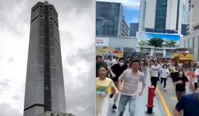 Clipe de panică, după ce o clădire de 300 de metri din China a început să se clatine din senin