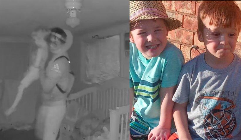 Momentul în care un copil este răpit din pat, de lângă fratele său geamăn, şi ucis fără milă de un tânăr de 18 ani