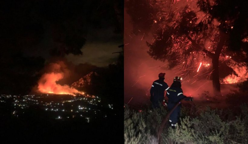 Incendiu devastator în Grecia. Locuitorii din şase localităţi au fost evacuați