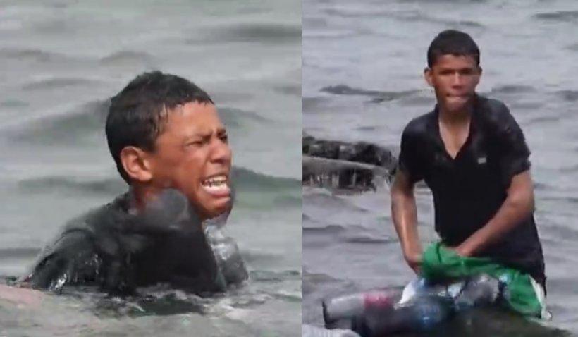Un tânăr din Maroc și-a îndesat sticle de plastic în pantaloni pentru a pluti până în Spania