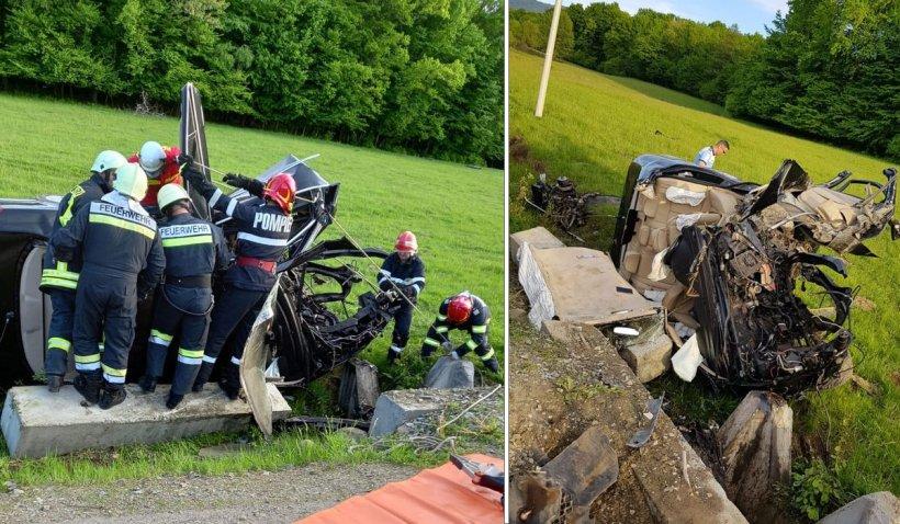 Accident rutier grav în Bistriţa-Năsăud, după ce o mașină a intrat într-un cap de pod. Trei bărbaţi au ajuns la spital
