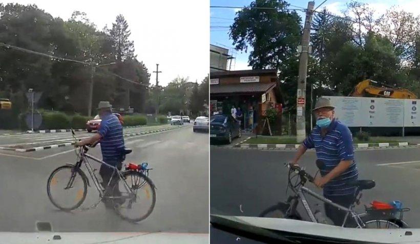 """Un bărbat din Brăneşti, supărat pe şoferi, a încurcat traficul într-un sens giratoriu: """"Eu nu am voie să circul?"""""""