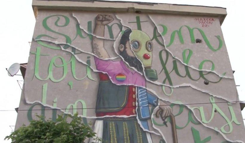Momente din pandemie, pictate pe fațadele blocurilor din Târgu Jiu