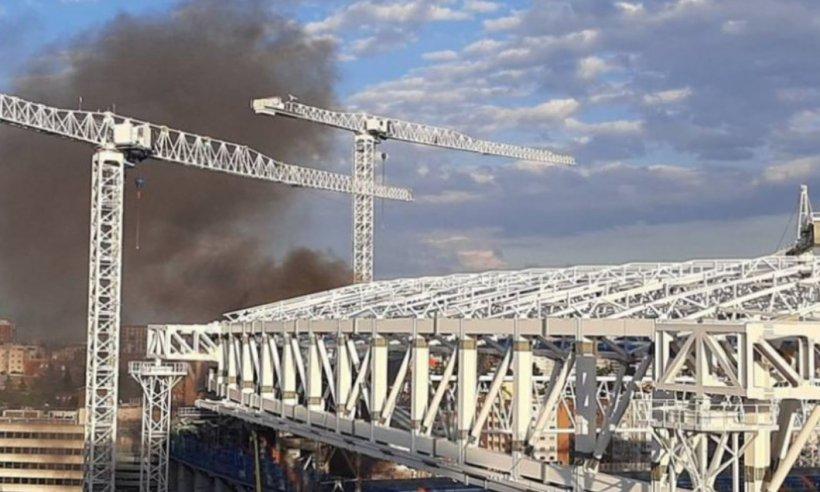 Incendiu violent în Madrid. Stadionul Santiago Bernabeu a fost cuprins de flăcări