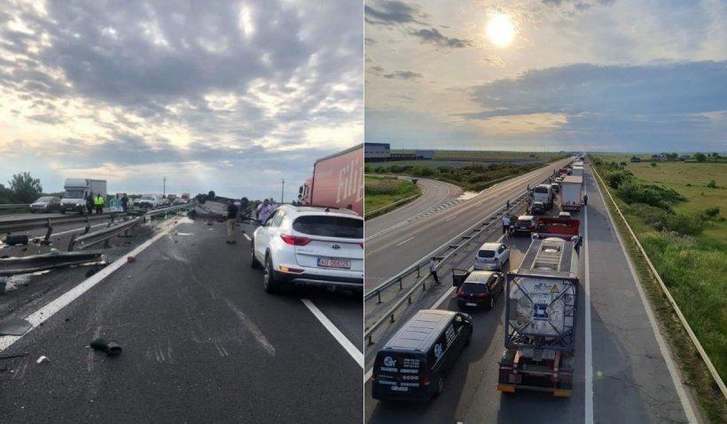 Trafic deviat și pericol de explozie pe Autostrada București-Pitești: O dubă care transporta ulei uzat s-a răsturnat pe șosea