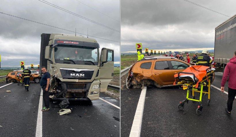Accident rutier cu şase mașini pe Centura Bacăului. Patru adulţi şi doi copii au ajuns la spital