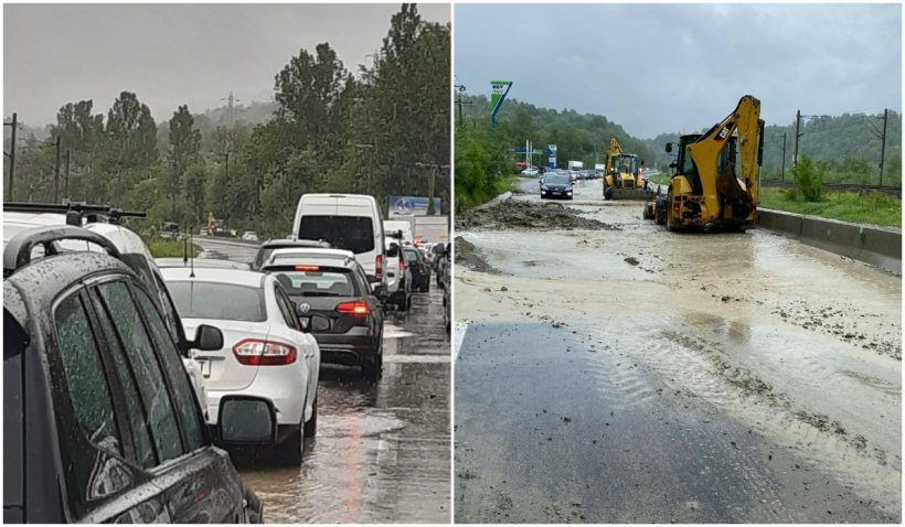 Trafic restricționat pe DN1, în localitatea Nistorești. Aluviunile au blocat drumul