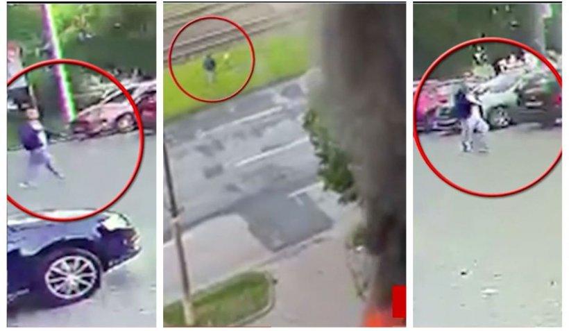 Un bărbat în negru, filmat de camere lângă locul exploziei din Arad, are un comportament ciudat