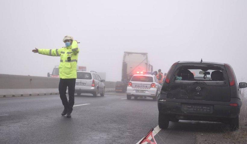 Trafic blocat pe DN1, din cauza unui accident rutier în județul Brașov