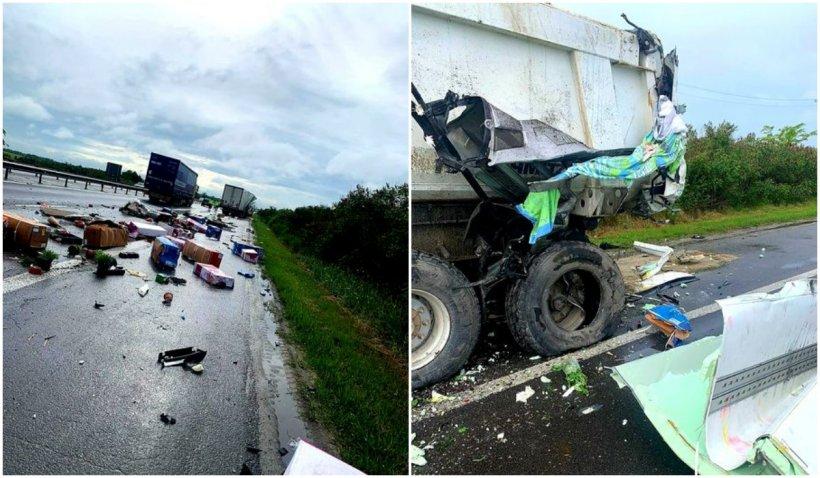Accident cumplit între două tiruri pe Autostrada București-Pitești. O persoană a murit