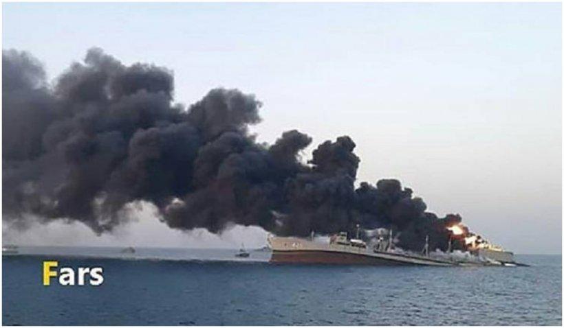 Cea mai mare navă de război a Iranului s-a scufundat în Golful Oman, după un incendiu