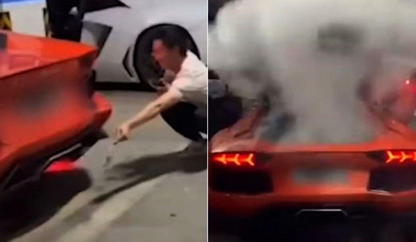 Un tânăr şi-a dat foc la Lamborghini în timp ce încerca să facă frigărui la eşapament
