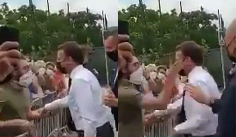 Emmanuel Macron a fost pălmuit de un bărbat, în timpul turneului său din Franța