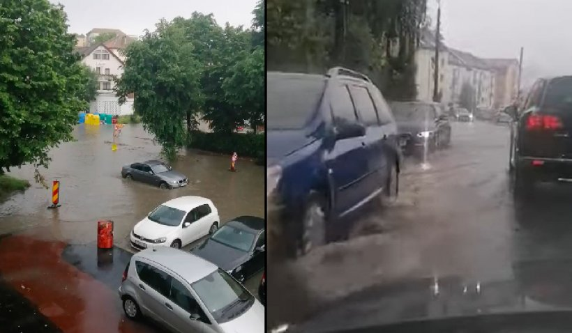 Prăpăd pe mai multe străzi din Sibiu în urma ploilor torenţiale