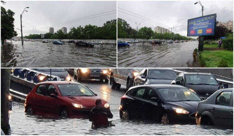 Bucureştiul, blocat de ruperea de nori. Străzi inundate şi copaci căzuţi