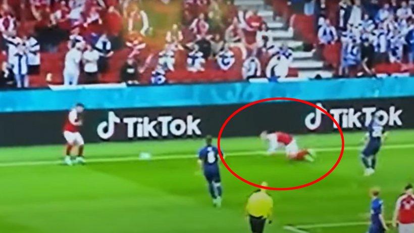 Momentul în care Christian Eriksen se prăbuşeşte inconştient pe teren. Care este starea jucătorului