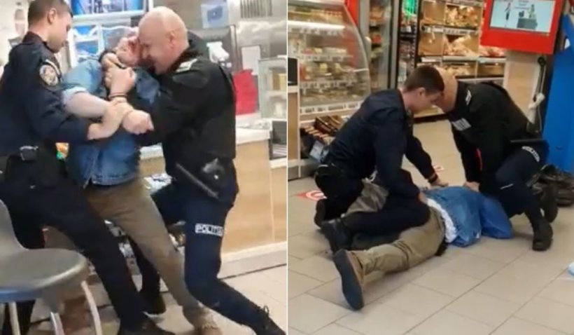 Un bărbat din Sibiu a intrat într-un magazin cu un cuţit în mână şi s-a luptat minute în şir cu doi poliţişti
