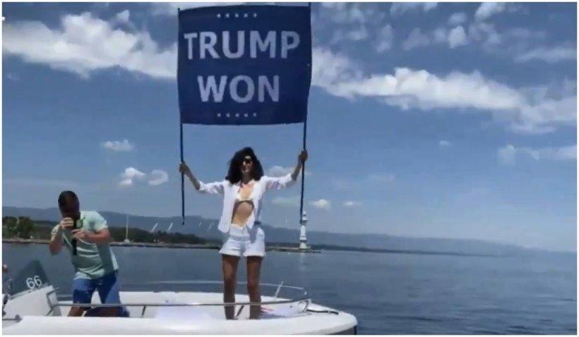 """Nepoata lui Osama bin Laden, protest cu mesajul """"Trump a câștigat"""" la summitul Biden-Putin"""