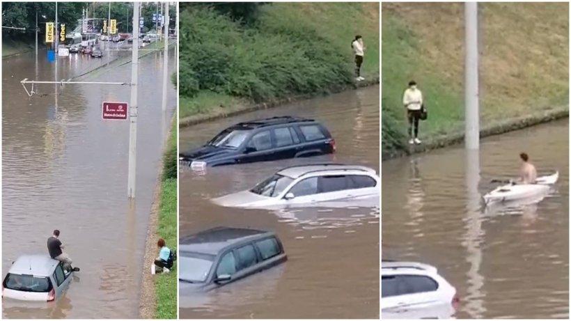 Rupere de nori la vecinii bulgari, în Ruse! Maşinile au fost pur și simplu înghiţite de ape