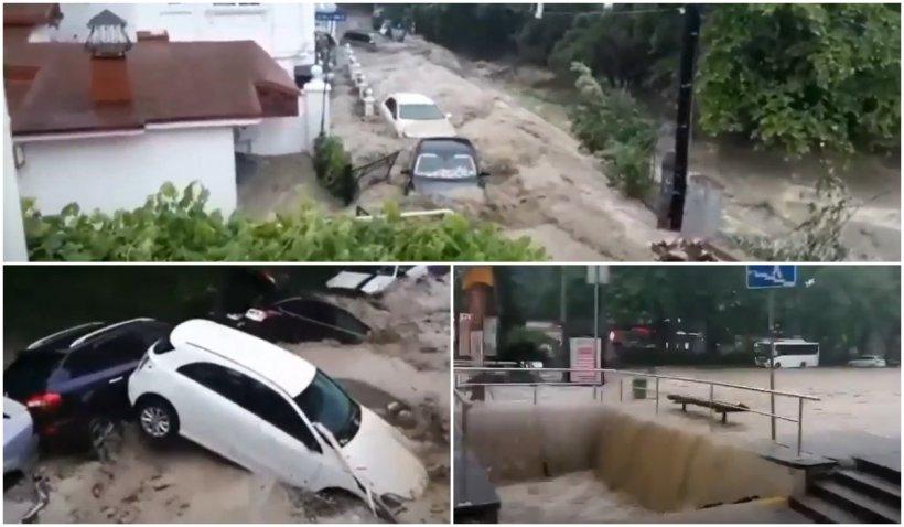 Inundații în Crimeea. Regim de urgență în Yalta, după ce orașul a fost cuprins de ape