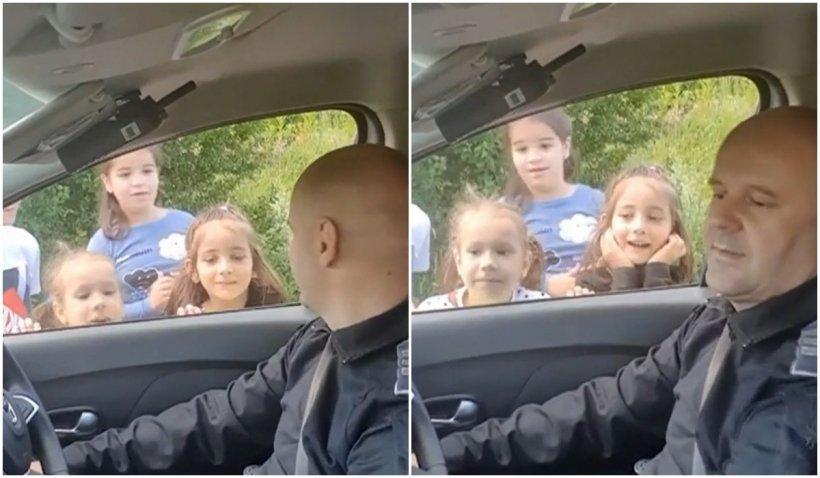 Un polițist din Sibiu a cucerit inimile copiilor după ce le-a arătat cum funcționează semnalul sonor al autospecialei