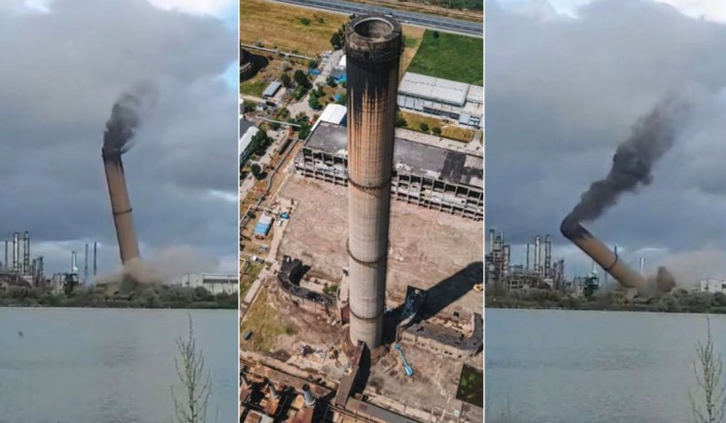 Turn de 150 de metri, demolare spectaculoasă pe platforma Petromidia Năvodari
