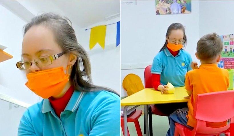 """Fata cu sindrom down din Constanța care a devenit terapeut pentru copii cu autism. """"Este o speranță și un vis pentru părinți"""""""