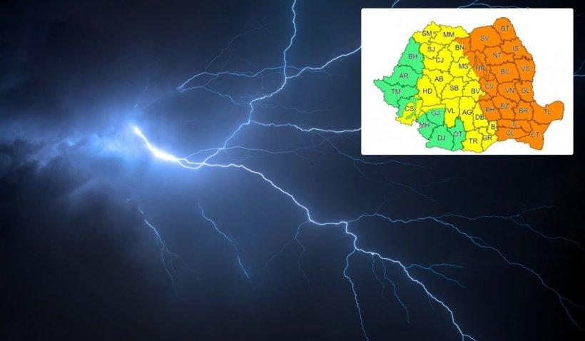 Noi avertizări meteo de vreme severă imediată! Cod portocaliu în jumătatea de est a ţării