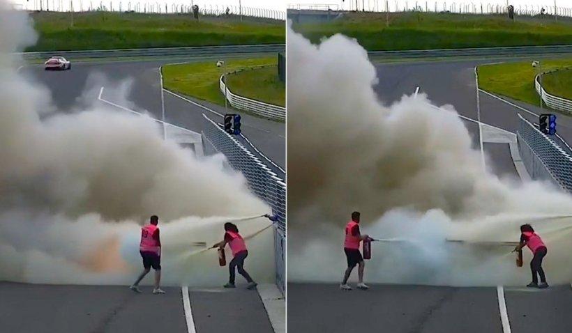 Mașină cuprinsă de flăcări în timpul unui concurs din Târgu Mureș