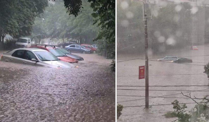 Prăpăd la Galați, după o ploaie teribilă. Mai multe zone ale orașului sunt inundate