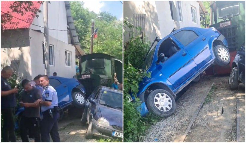 Conductorul mocăniţei Apusenilor s-a ales cu dosar penal pentru distrugere din culpă după ce a lovit două maşini parcate pe şine