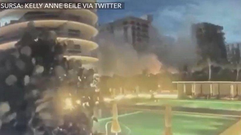 """Momentul prăbușirii blocului de 12 etaje din Miami.  """"S-a simțit ca un cutremur!"""""""