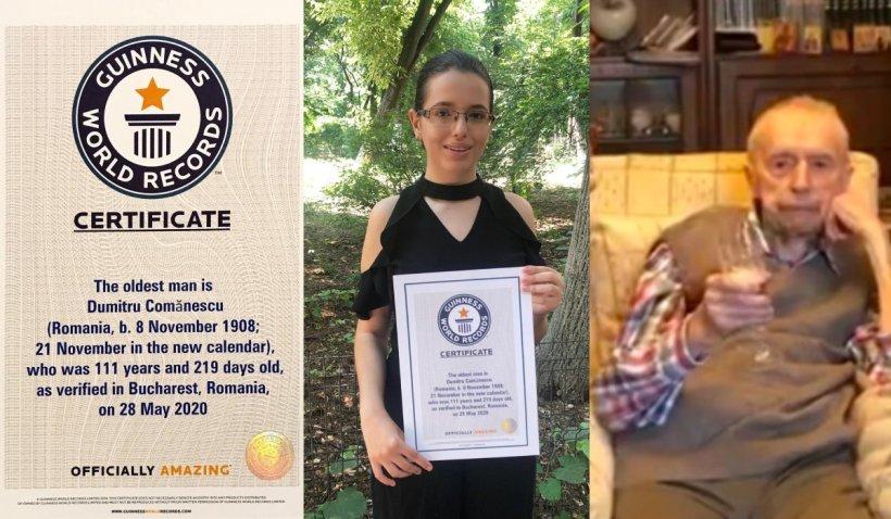 Dumitru Comănescu, recunoscut oficial ca cel mai longeviv bărbat în viaţă al planetei, a primit certificatul de la Guinness World Records la un an după moartea sa