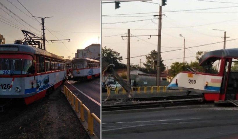 Un tramvai a deraiat pe o stradă din Arad. O femeie a fost dusă la spital