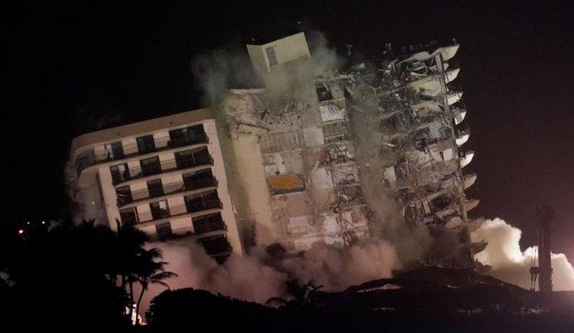 A fost demolată clădirea din Miami care a devenit mormântul a zeci de rezidenți. 121 de oameni sunt încă dispăruți