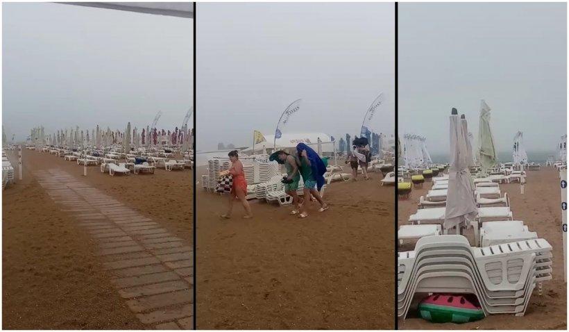 Vreme severă pe litoral: Turiștii din Eforie, alungați de pe plajă de grindină și vânt