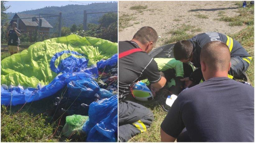 Accident grav cu parapanta în județul Neamț. Un bărbat a fost găsit în stare de semiinconștiență