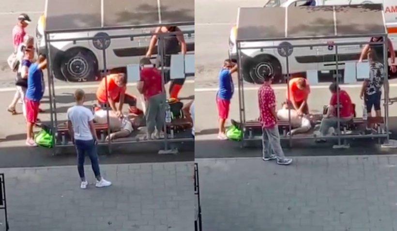 Bărbat din Satu Mare, mort în stația de autobuz, din cauza căldurii. Un martor a filmat încercările paramedicilor de a-l salva