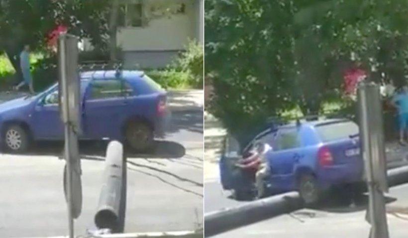 """Un șofer din Brașov a încercat să treacă peste o conductă. Imagini demne de """"Cascadorii Râsului"""""""