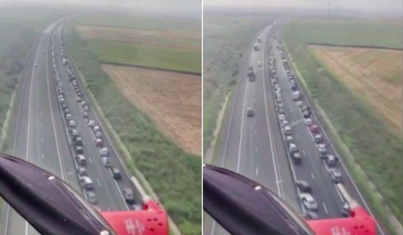 Imagini din elicopter cu carambolul de pe Autostrada Soarelui. Peste 50 de mașini și 146 de persoane implicate
