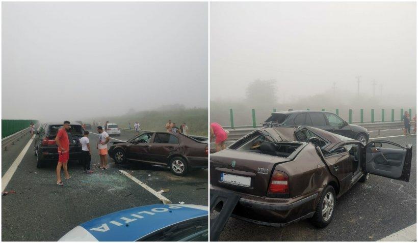 Un nou accident pe Autostrada Soarelui: 3 autoturisme implicate şi 5 victime. Traficul este deviat
