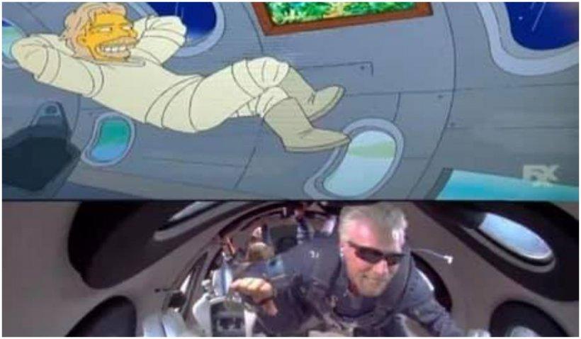 """Cum a prezis """"Familia Simpson"""", în urmă cu 7 ani, că Richard Branson va merge în spațiu"""