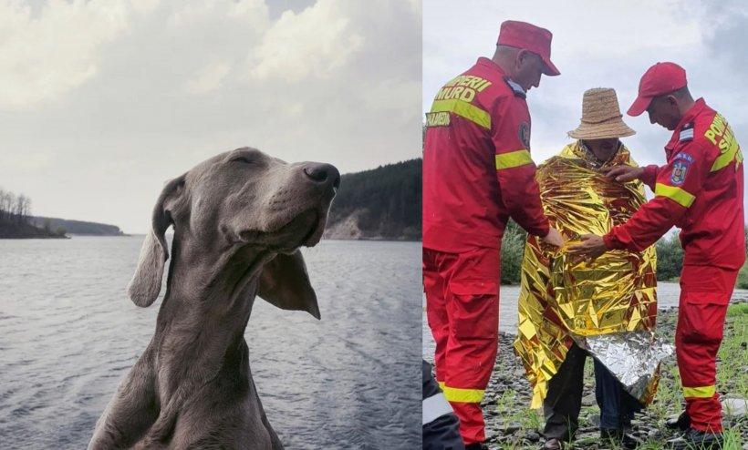 Bărbat din Bistriţa-Năsăud salvat de câinele său după ce a rămas agățat în vegetația de pe marginea unui râu