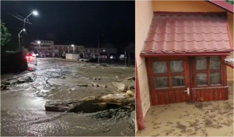 Viitură la Buşteni: cel mai circulat drum din ţară blocat, 50 de case şi un magazin, inundate