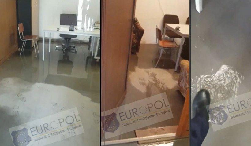 """Sindicatul Europol, despre postul de poliţie inundat în Maramureş: """"Ambianţă de ştrand"""""""