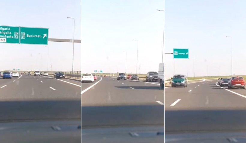 Zeci de mașini filmate pe contrasens, pe autostrada A2 și A4, în Constanța. Poliția caută șoferii